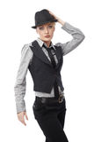 Business woman. Attractive young Caucasian business woman in hat Stock Image