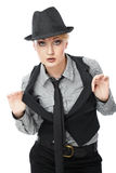 Business woman. Attractive young Caucasian business woman in hat Stock Images