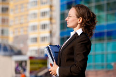 Business Woman. Portrait woman , global business , expressing positivity royalty free stock images