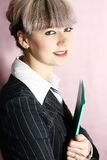Business woman. Young business woman with business folders Royalty Free Stock Photography