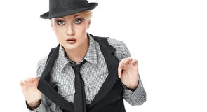 Business woman. Attractive young Caucasian business woman in hat Royalty Free Stock Photos