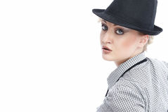 Business woman. Attractive young Caucasian business woman in hat Royalty Free Stock Image