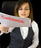 Business woman. Gives some confidential paper Stock Photo