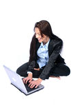 Business Woman. Woman on Laptop Smiling stock photo
