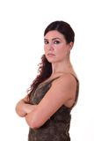 Business Woman. With arms crossed over white background Royalty Free Stock Image