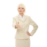 Business woman. Extend hand over white background Stock Images