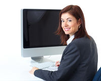Business woman. Smiling  business woman working with computer Royalty Free Stock Photo