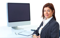 Business woman. Smiling  business woman working with computer Stock Photo