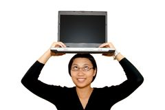 Business Woman. With laptop computer Royalty Free Stock Photo
