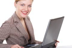 The business woman. The girl  works on a computer Stock Images