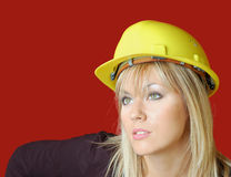 Business woman. With helm on her head suitable for design stock photos