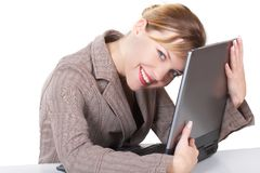 The business woman. The girl  works on a computer Royalty Free Stock Photos