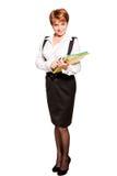 Business woman. Beautiful business woman standing on white background Stock Photo