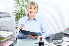 Business woman. Pretty business woman working at office stock images