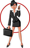 Business woman. Beautiful cartoon business woman smiling with cellphone and suitcase Royalty Free Stock Photos
