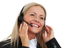 Business woman. Speak with headset Stock Photo