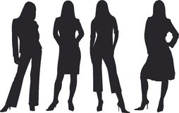 Business woman. Four silhouettes of woman in business suit stock illustration