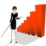 Business woman. Conceptual layout with a business woman presenting statistic bars Stock Photography