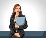 Business woman. Holding paper file Royalty Free Stock Photo