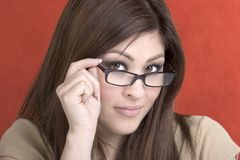 Business Woman. Beautiful latino glasses business woman Royalty Free Stock Images
