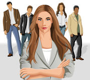 Business woman. Wearing gray suit with office people on the background Royalty Free Stock Image