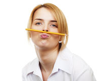 Business woman. Holding a pancil by lips Stock Photos