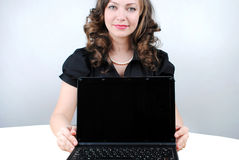 Business woman. Showing blank laptop royalty free stock photos