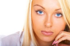 Business woman. The blonde with blue eyes Royalty Free Stock Photo