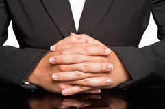 Business Woman. Waiting with fingers crossed Stock Photo
