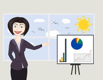 Business woman. Showing a graph of successful finance or company growth Royalty Free Stock Images