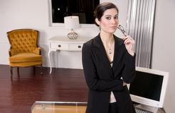 Business Woman Holding Glasses Front Computer Desk Stock Photography
