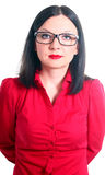 Business woman. In a red shirt white background Stock Images