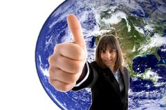 Business woman. With thumbs up against globe Stock Image