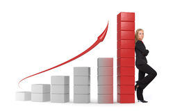 Business woman - 3d graph Stock Images