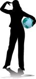 Business woman. Holding a globe stock illustration