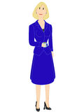 Business woman. In blue suit holding a coffee cup Stock Images
