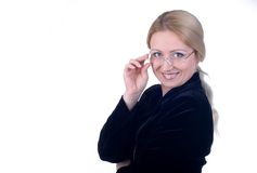 Business woman. With glasses Royalty Free Stock Image