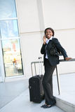 Business Woman. An pretty african american business woman on the cell phone stock photos