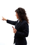 Business woman. Indicating with the finger in the presentation royalty free stock photo