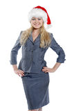 Business-woman. In a uniform with a smile Royalty Free Stock Photo