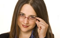 Business woman. Smiling business woman with glasses Royalty Free Stock Photography