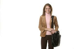Business Woman. With briefcase with text area on left stock images