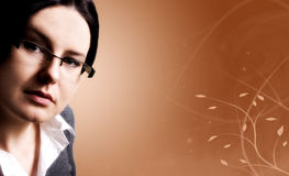 Business woman. In glasses with decorative background royalty free stock photo