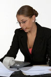 Business Woman. Young Business with Woman Pencil in Mouth Royalty Free Stock Photography