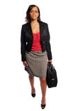Business Woman. Attractive young business woman with a laptop computer case Stock Photo