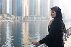 Business woman in an abaya. Professional business woman in a traditional emirati abaya Royalty Free Stock Photo