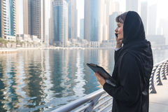 Business woman in an abaya. Professional business woman in a traditional emirati abaya Stock Photography