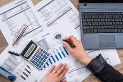 Business woman account annual budget stock photos