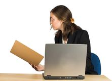 Business woman - accountant with her laptop Stock Photo