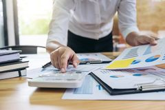 Business woman or accountant working Financial investment on cal Royalty Free Stock Image